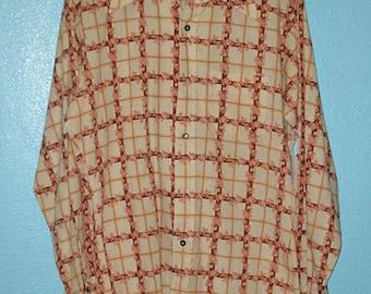 "70s Vintage ""Rappers"" Men's Casual Long Sleeve Shirt —  Size 15-M-15 1/2"