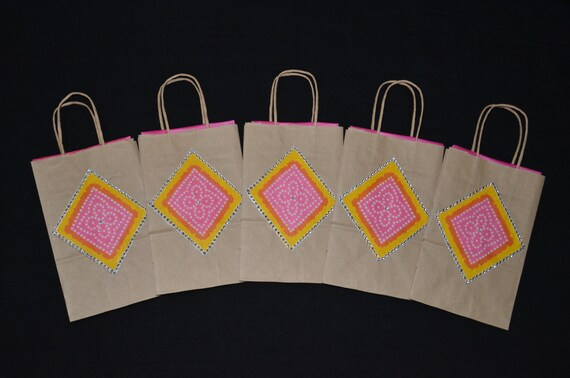 Set Of 5 Small Gift Bags Indian Wedding Pink Gift Bags Bags Etsy