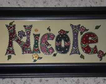 Name Plate, Nicole, Handmade Name, Hand painted Name, Christmas gift, Gift for girls, Birthday gift