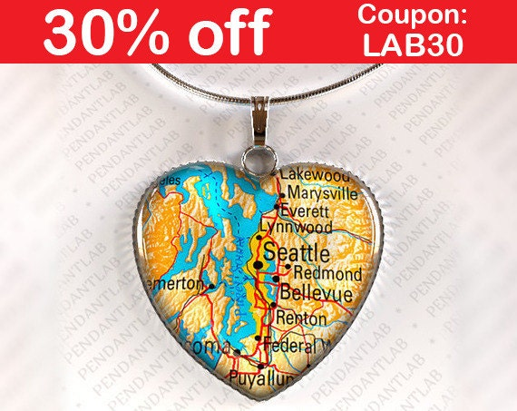 Items similar to Seattle Map Pendant, Seattle Art, Seattle Souvenirs