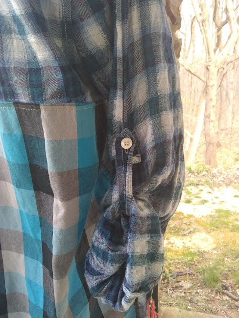 Upcycled Blue Plaid American Eagle Size 12 pullover long boho tunic with black refashioned repurposed shabby chic altered hippie dress