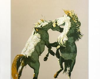 "Fran Bull ""Fighting Horses"" - 1980 - Signed Serigraph - COA - See Live at GallArt - Buy/Sell/Trade"