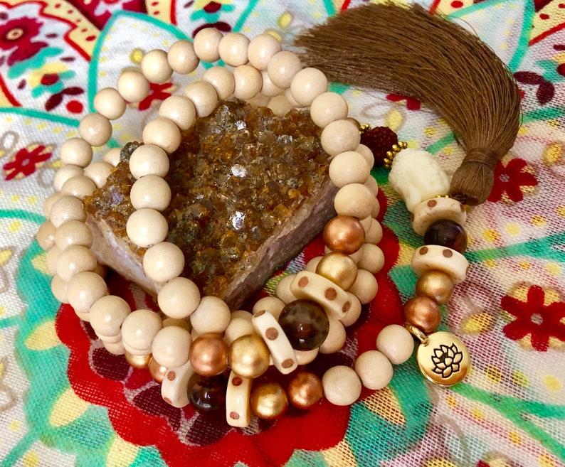 Mala with Buddha Bead and Lotus Charm