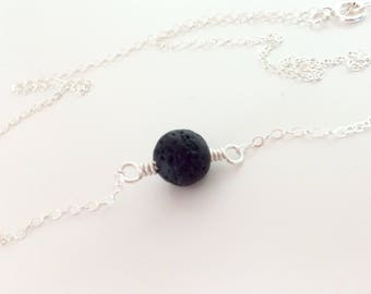 Lava Stone Sterling Necklace