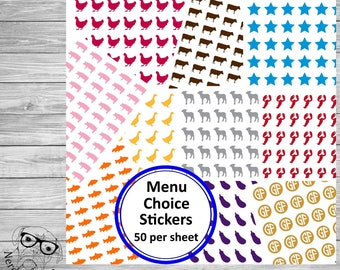 Menu Choice Stickers, 50 per sheet, Wedding Place Card Stickers, Meal Choice Stickers, Wedding Meal Stickers, Menu Stickers - Your choice