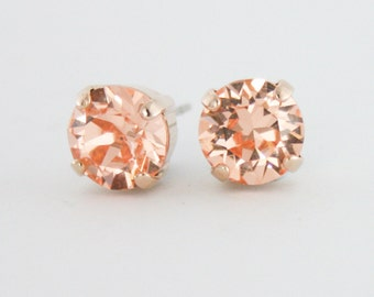 301fa7e37409bd Peach crystal earrings,peach stud earrings,Swarovski peach,swarovski,peach  earrings,peach rose gold earrings,rose gold earrings,stud earring