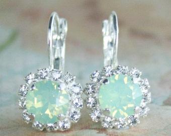 Mint opal drop earrings,mint opal earrings,mint wedding,mint bridesmaid earrings,mint bridal earrings,mint wedding jewelry,mint fashion