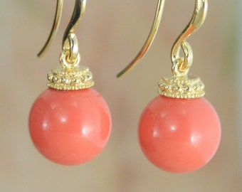 Coral earrings, Coral jewelry, Coral bridesmaid earrings, Pearl earrings, Coral wedding, big pearl earrings, 10mm pearl, coral drop earring