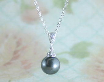 pearl pendant necklace,black pearl pendant necklace,black pearl necklace,pearl wedding necklace,pearl jewellery,pearl,swarovski pearl