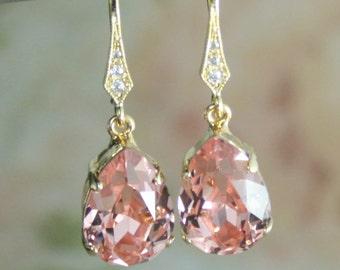 rose gold crystal earrings,blush crystal earrings,rose gold earring,crystal bridesmaid earrings,swarovski earrings,teardrop crystal earrings