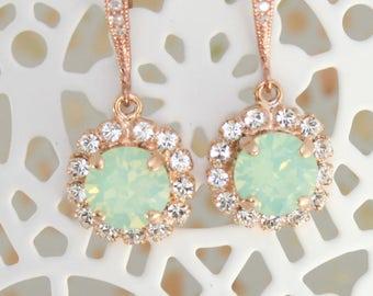 Rose gold mint earrings,mint opal earrings,rose gold earrings,Swarovski Chrysolite opal,mint wedding jewelry,mint bridal earrings,mint