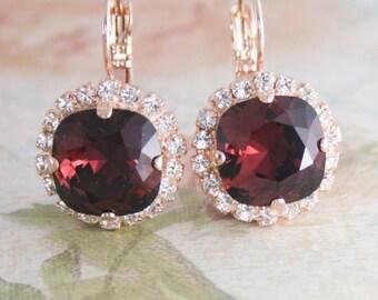 Burgundy earrings,burgundy crystal earrings,marsala earrings wedding,burgundy bridesmaid earrings,swarovski marsala,red crystal earrings
