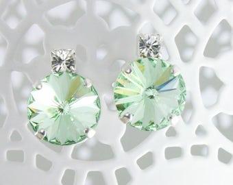mint green earrings,mint wedding jewelry,12mm earrings,rivoli earrings,Swarovski Chrysolite,Swarovski rivoli,mint green wedding,mint wedding