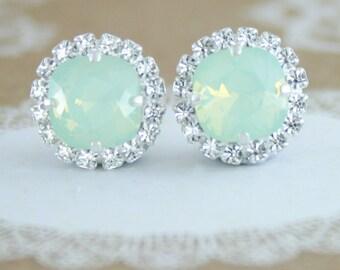 Mint opal earrings,Mint green earrings,Swarovski,Swarovski mint earrings,mint wedding jewelry,mint bridal earrings,mint bridesmaid earrings