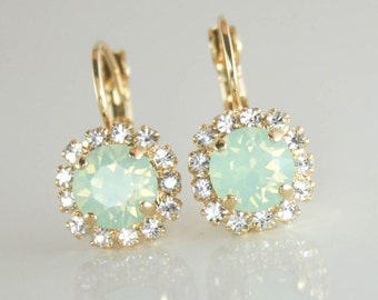 Swarovski mint opal earrings,mint opal earrings,crystal earrings,gold earrings,mint bridesmaid earrings,mint wedding jewelry,mint wedding