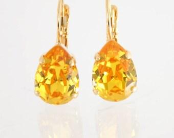 Yellow earrings | Yellow drop earrings | Swarovski Sunflower | Yellow teardrop earrings | gold earrings | yellow jewelry | sunflower |yellow