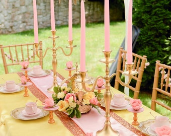 10 Gold Wedding Candle Candelabras 3 arm Shabby Candle Holder Party Candle Holder Birthday Candle Holder
