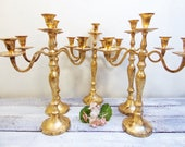Quick Ship 12 Wedding Candelabras 3 arm Shabby Candle Holder Antique Gold Distressed