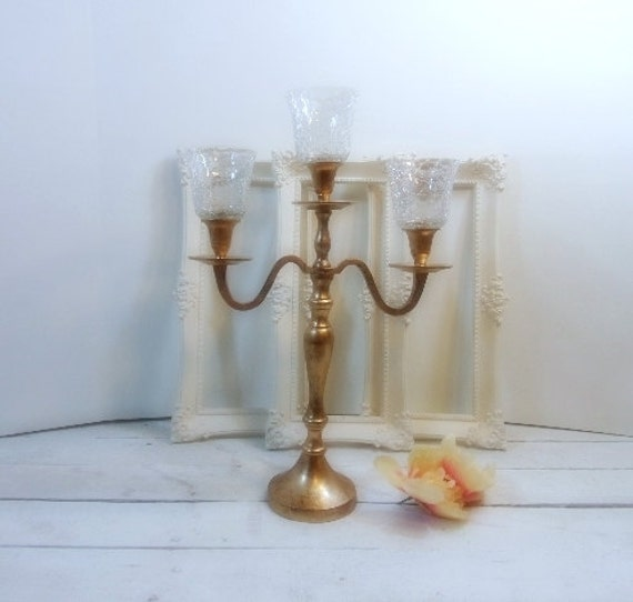 Distressed Gold Wedding Candle Candelabras 3 Arm Shabby Holder Party Birthday