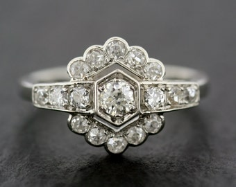 Art Deco Engagement Ring - Antique Diamond Engagement Ring - Unique Engagement Ring