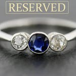 Art Deco Engagement Ring - Antique Sapphire & Diamond Art Deco Ring - Antique Engagement Ring