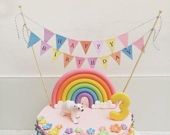 Cake Bunting/Cake Topper/Cake Banner/Flags. Pastel Happy Birthday, Peach,Pink, Blue, Violet and Yellow. Birthday - Pastel.