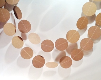 Kraft Card Circle Garland. Wedding - Engagement - Home Decor - Simplistic - Rustic - Rustic Wedding