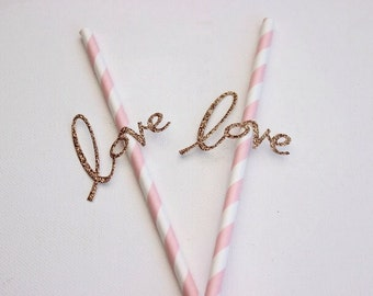 Paper Straws With Love Detail. Pink Stripe Straws. Wedding - Engagement - Anniversary.