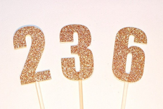 Number Cake Toppers Pokes 5cm Tall Gold Or Silver