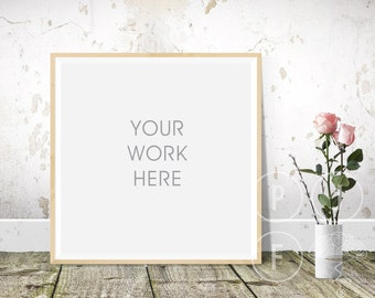 Download Free square frame mockup, roses, rustic room, frame mock up, styled square frame, floorboards PSD Template