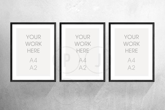 3 picture frames on wall mockup image frame mockup a4 set of mock up concrete wall etsy