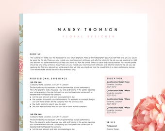 creative resume, resume template ms word, CV template, professional resume, pink resume, art teacher resume, Mandy resume,
