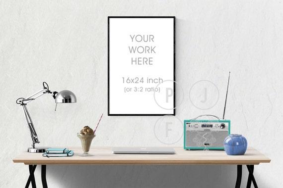 Frame En Bureau Mockup Poster Frame Mockup 16 X 24 8 X 12 Etsy