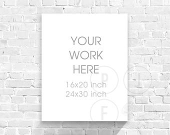 canvas mockup, 16x20 24x30 8x10, white bricks, frame mockup bricks, styled photo, white wood, kids room mock up, digital frame