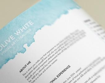 creative resume template, resume template ms word, CV template, professional resume, modern resume, art teacher resume, Olive resume