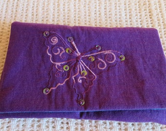 Purple linen party clutch - sequined butterfly