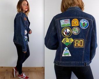 87c9be94 Vintage 70's Levi's Big E Patched Denim Jacket Large