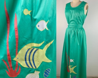 Vintage 70s Wrap Maxi with Fish Patchwork