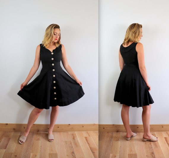 Vintage 40's Washed Black Button Down Sun Dress