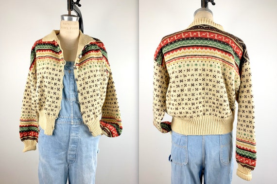 Vintage 1950s Fair Isle Wool Ski Sweater Cardigan