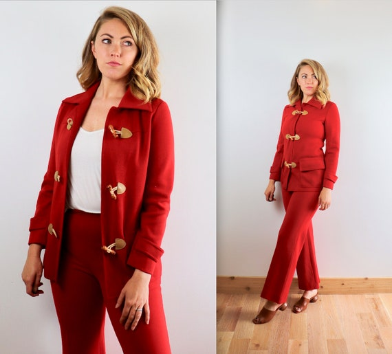 Vintage 70's Knit Western Toggle Suit