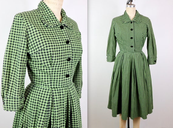Vintage 1950s Green Plaid Holiday Cotton Tabak Dre