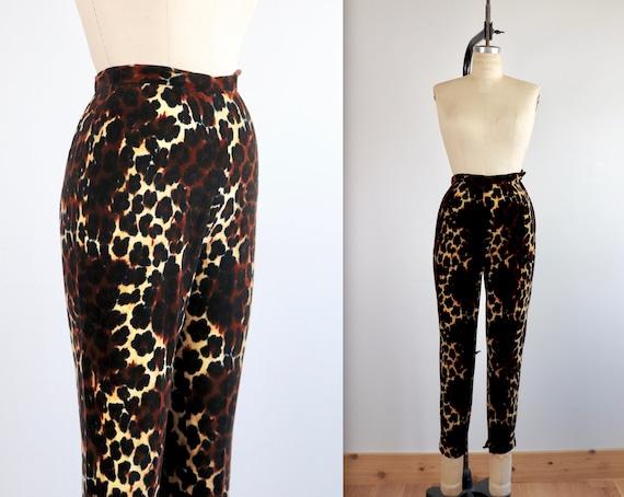 Vintage 60s Animal Print Velvet High Waist Pants - image 3