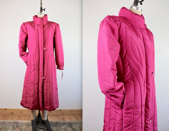 Vintage 80's Magenta Puffer Down Long Coat