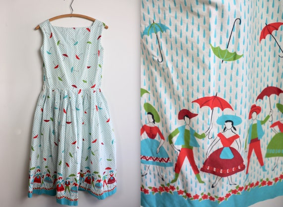 Vintage 1950s Raindrop + Umbrella Novelty Cotton S