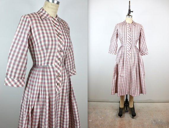Vintage 1950s Pink Plaid Princess Dress