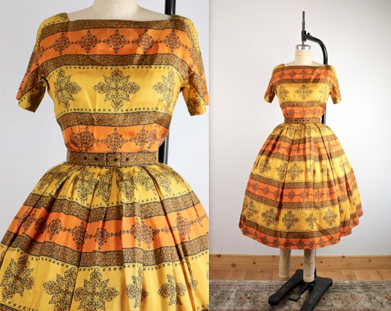 Vintage 1950's L'AIGLON Silk Circle Dress
