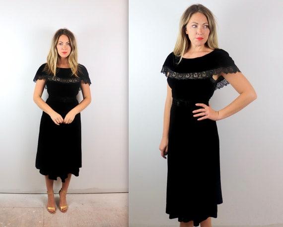 Vintage 1940s Black Velvet Caplet Dress