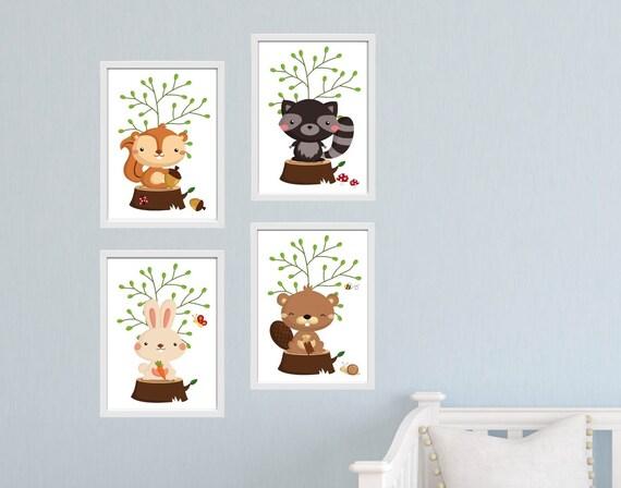 Kinderzimmer Waldtiere Bilder Set DIN A4 K033 | Etsy