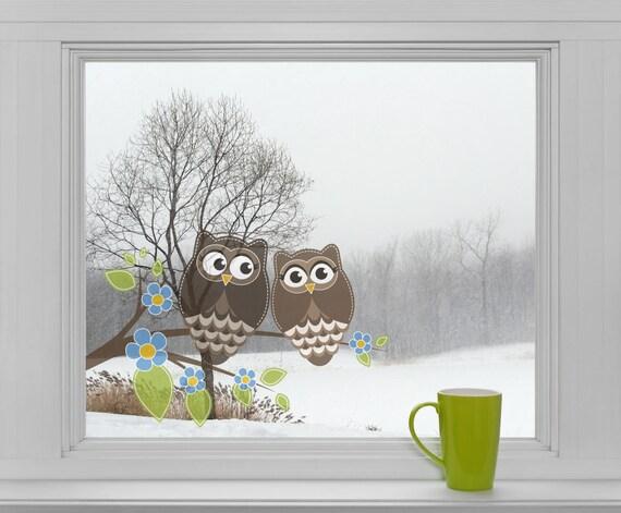 Eulen Vogel auf Ast Fenstersticker Sticker Aufkleber Fensteraufkleber Eule F005